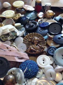Sewing basket full of buttons and notions
