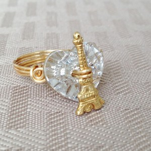 Eiffel Tower heart ring