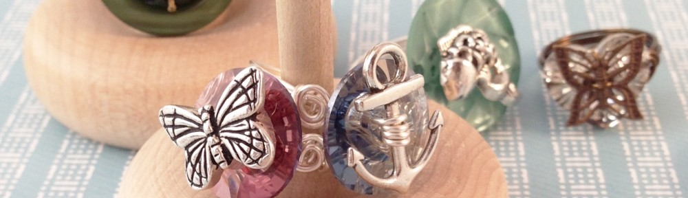 embellished button rings