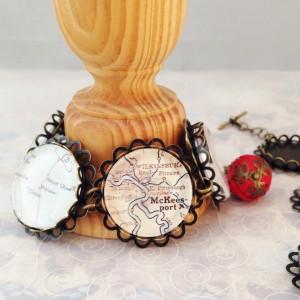 map tile bracelet